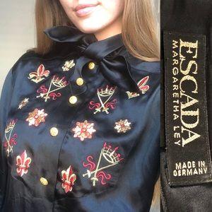 Vintage Escada Fleur de Lis 100% Silk Blouse